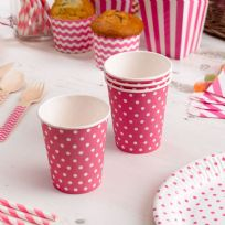 Carnival Pink Paper Cups - Dots (8)